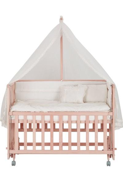 Babycom 70x130 Doğal Boyasız 4 Kademeli Anne Yanı Tekerlekli Ahşap Beşik + Uyku Seti
