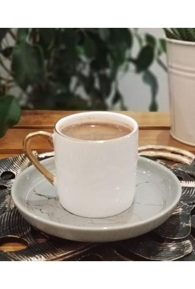 Deco Vien Porselen Mermer Desen Tabaklı 6 Kişilik Kahve Fincan Takımı