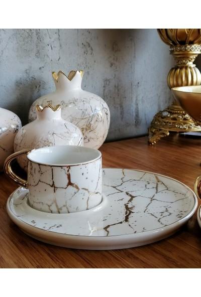 Deco Vien Porselen Yuvarlak Sunum Tabaklı 6 Kişilik Kahve Fincan Seti