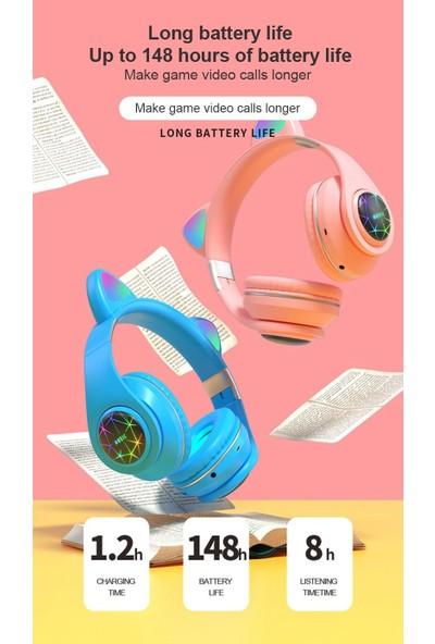 Coverzone M2 Rgb Bluetooth Sd Aux Kulaküstü Kulaklık Catear Mavi