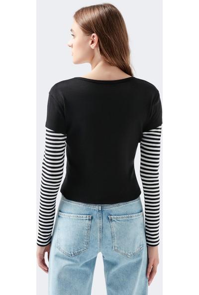 Mavi Uzun Kollu Siyah T-Shirt