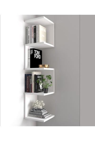 Dekoronya Ivy Zig Zag Duvar Rafı / Kitaplık Beyaz
