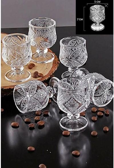 Arow Kristal Kesme 6 Adet Kahve Yanı Ayaklı Mini Su Bardağı 1629