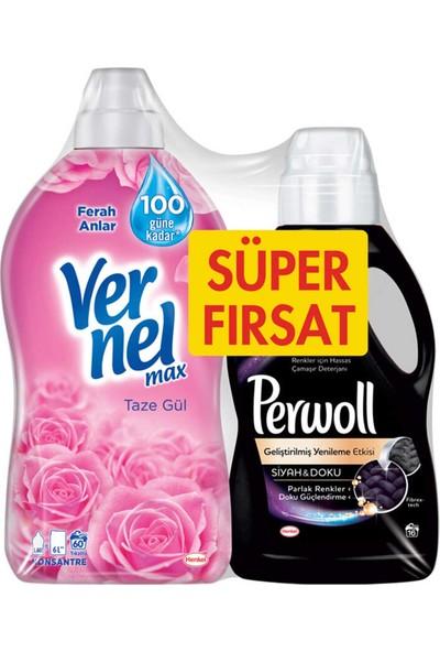 Vernel Taze Gül Yumuşatıcı 1440 ml + Perwoll Siyah & Doku Sıvı Çamaşır Deterjanı 1 Lt