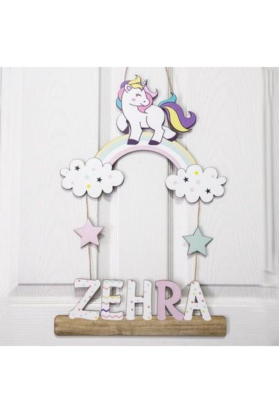 Meşgalem Unicorn Kız Bebek Ahşap Kapı Süsü