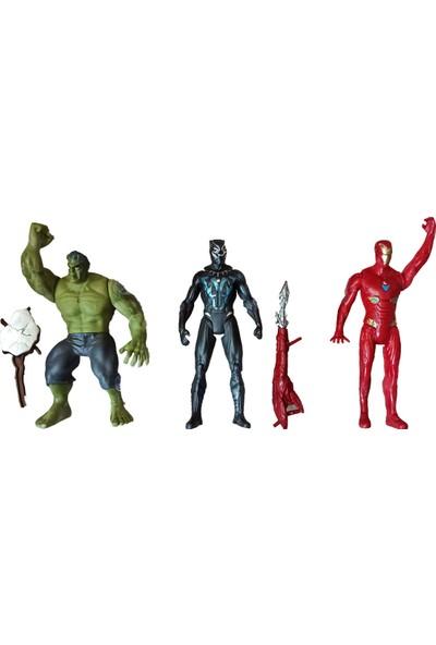 Meva Hulk Kara Panter Ironman 3'lü Işıklı Avengers Figür Seti
