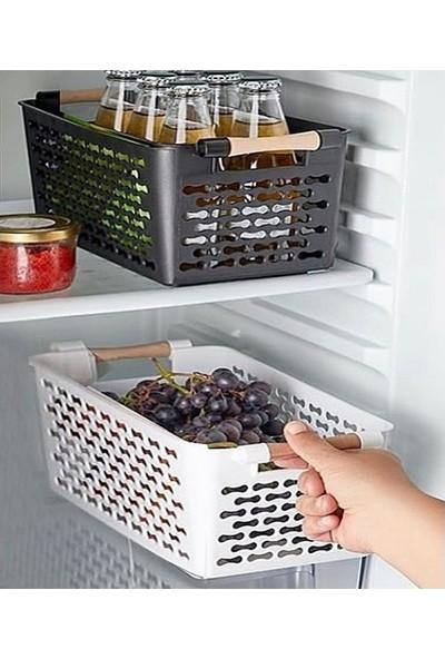 Sıla Home Ahşap Saplı Plastik Düzenleyici Sepet 2'li