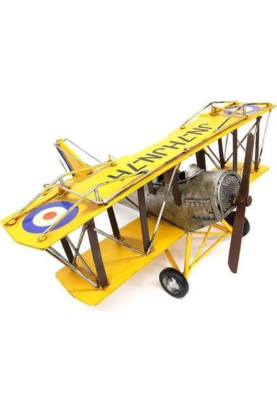 Evim Tatlı Evim Nostaljik Metal Savaş Uçağı Çift Kanatlı 47 cm