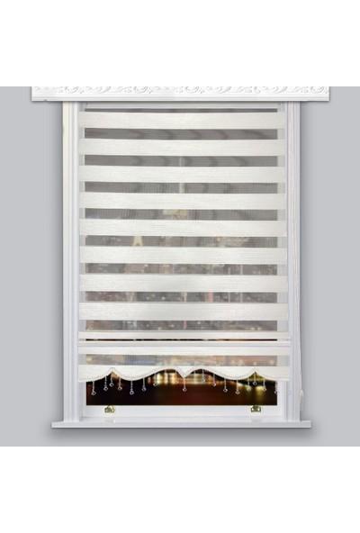 Lucra Concept Zebra Perde Çizgili Etek Dilimli & Boncuklu Beyaz MZ601-1EB 40x200 cm