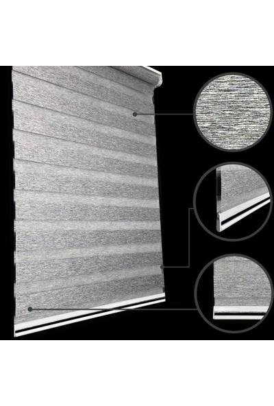 Lucra Concept Zebra Perde Çizgili Etek Dilimli & Boncuklu Gri MZ601-3EB 40x200 cm