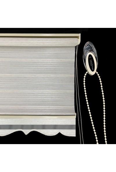 Lucra Concept Zebra Perde Çizgili Etek Dilimli Krem MZ603-1E 40x200 cm