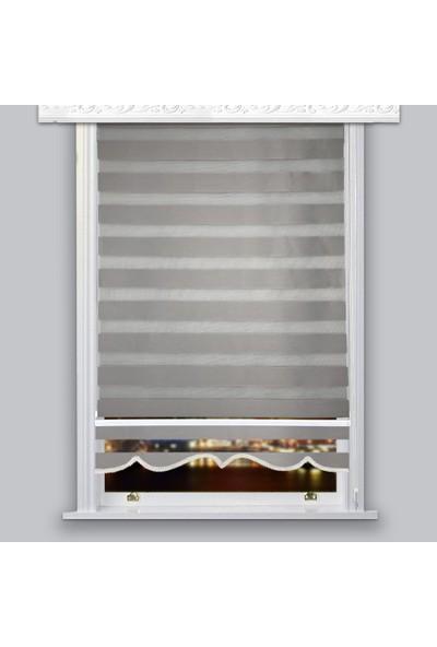 Lucra Concept Zebra Perde 616-18 Etek Dilimli Gri MZ616-18E 40x200 cm