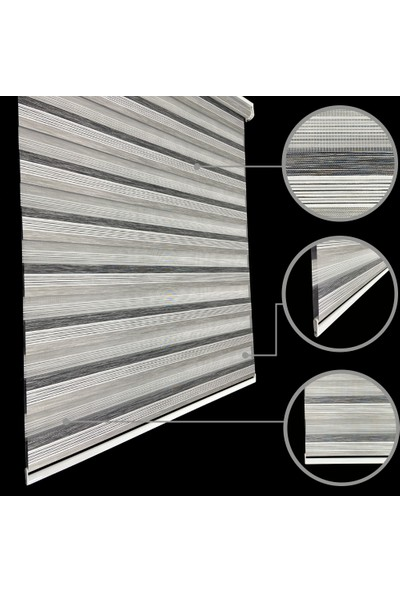 Lucra Concept Zebra Perde 694-6 Etek Dilimli Gri MZ694-6E 40x200 cm
