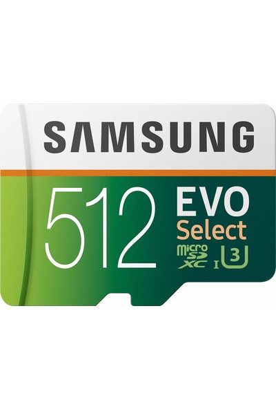 Samsung Evo Select 512GB Microsdxc Uhs-I U3 100MB/S Full HD & 4K UHD Hafıza Kartı (MB-ME512HA)
