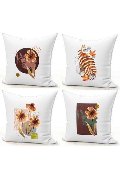 Bk Home Dekor Dekoratif Soft Çiçek Desen Kırlent Kılıf 4'lü Set