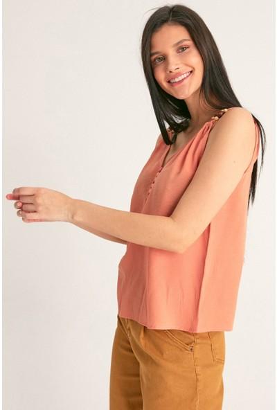 FullaModa Kadın Yakası Düğmeli Bluz