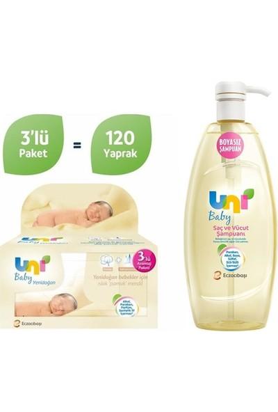 Uni Baby Yenidoğan Islak Pamuk Mendil 3'lü + Uni Baby Şampuan 700 ml Fırsat Paketi