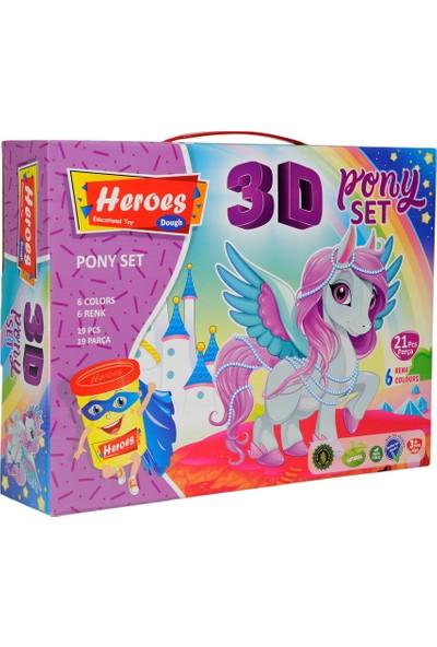 Heroes ERN-569 Heroes 3D Kalıplı Pony Oyun Hamuru Seti
