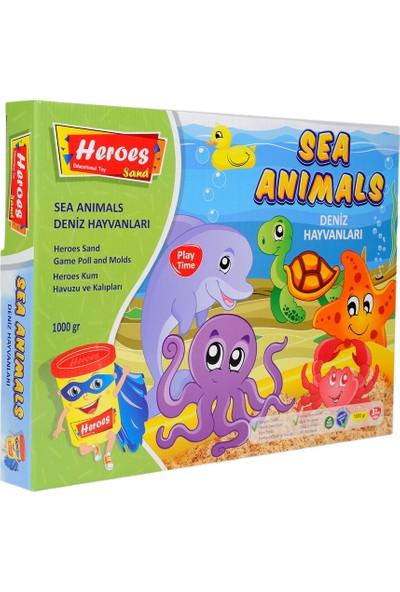 Heroes KUM-013 Heroes Büyük Kum Havuzu Deniz Hayvanları Kalıplı 1000 gr Kumlu Set