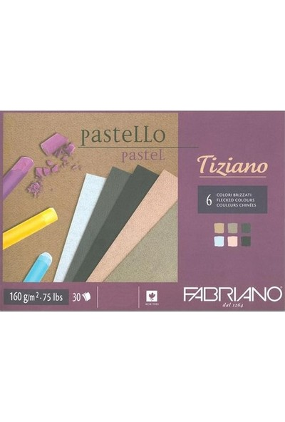 Fabriano Tiziano Pastel Çizim ve Baskı Defteri Brizzati Colour 6 Karma Renk 160 gr 30 Sayfa A3