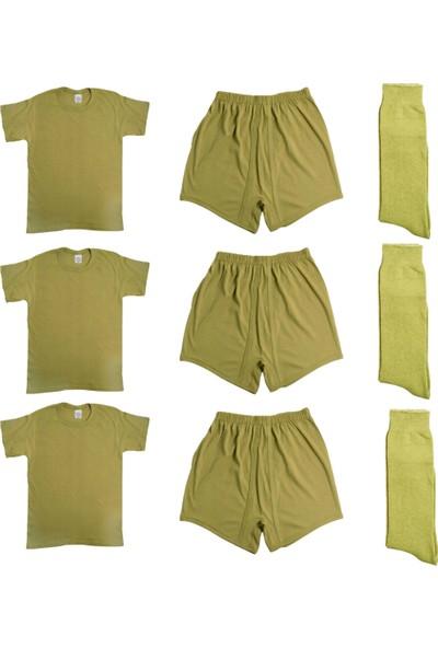 Seher Yıldızı 3'lü Askeri Atlet Fanila + Boxer İç Çamaşırı + Çorap Askeri Malzeme Seti