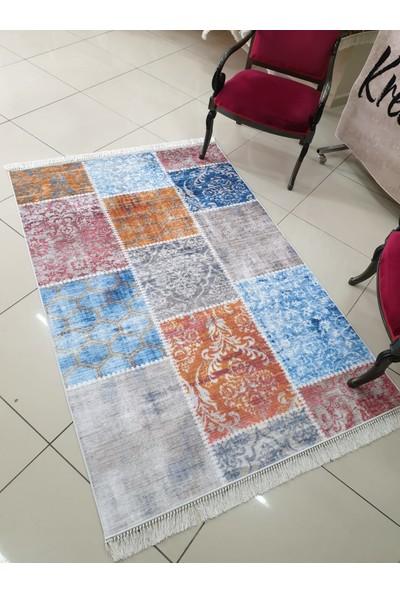 Apree Home Yeni Patchwork, Kaymaz Dod Tabanlı, Makinada Yıkanabilir Halı 60 x 100 cm