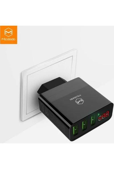Mcdodo Dijital Göstergeli 3 USB Girişli 3A Hızlı Şarj Cihazı Siyah - CH-5031