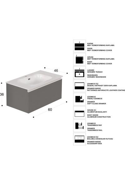 Vallessi Uno Lavabo Dolabı 60 cm Parlak Beyaz - İnci Beyaz Lavabo