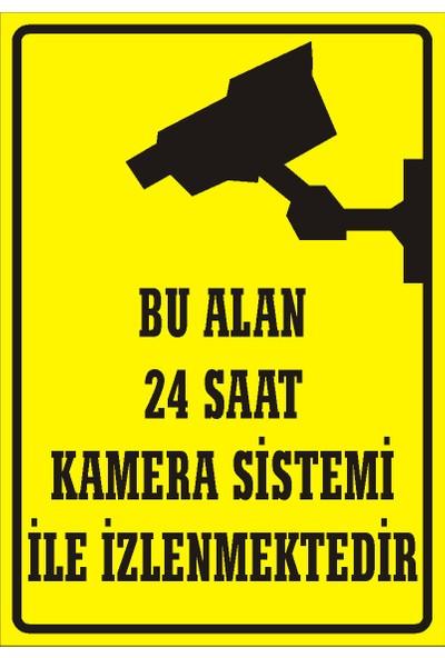 İzmir Serigrafi Bu Alan 24 Saat Kamera Sistemi İle İzlenmektedir Sticker Uyarı Levhası 25 x 35 cm