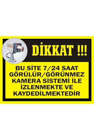İzmir Serigrafi Bu Site 7/24 Saat Görülür/Görünmez Kamera Sistemi İle İzlenmekte ve Kaydedilmektedir 3 mm Dekota Uyarı Levhası 25 x 35 cm