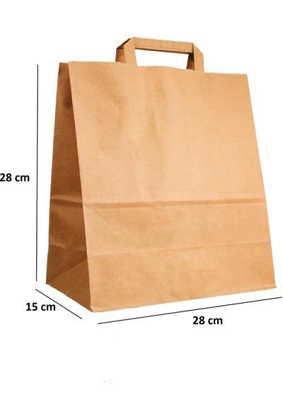 Baran Ambalaj Doğal Kraft Kağıt Poşet Çanta 28 x 15 x 28 cm 50'li