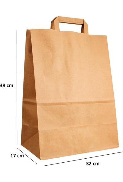 Baran Ambalaj Doğal Kraft Kağıt Poşet Çanta 32 x 17 x 38 cm 50'li