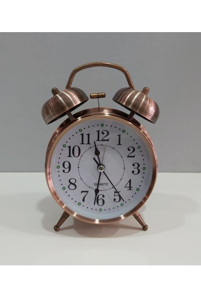 Evim Tatlı Evim Nostaljik Metal Çalar Saat Bakır Kaplamalı Alarmlı ve Işıklı