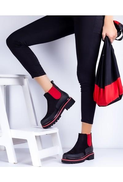 Eşle 20K Poly Kadın Günlük Bot Siyah - Kırmızı