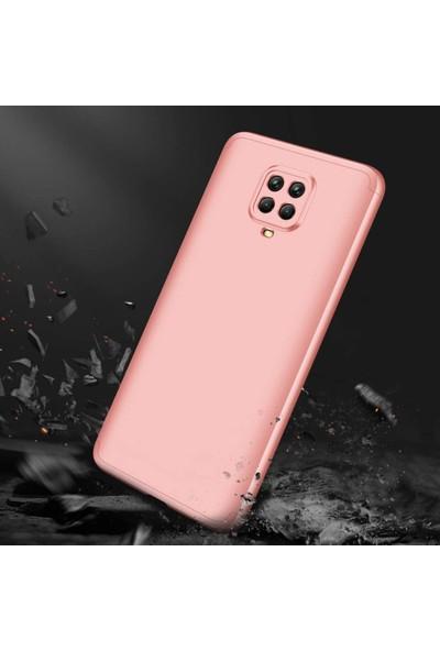 Case 4U Xiaomi Redmi Note 9S / 9 Pro Kılıf 360 Derece Korumalı Tam Kapatan Koruyucu Sert Silikon Ays Arka Kapak Rose Gold