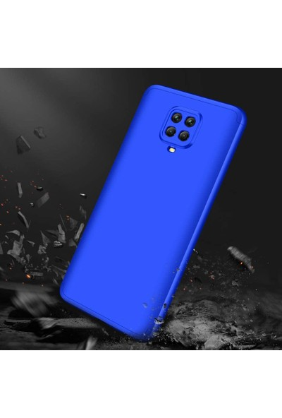 Case 4U Xiaomi Redmi Note 9S / 9 Pro Kılıf 360 Derece Korumalı Tam Kapatan Koruyucu Sert Silikon Ays Arka Kapak Mavi