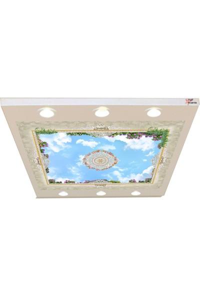 Hayal Penceresi Bulut ve Çiçek Desenleri Gergi Avize 140 x 100 cm Hazır Gergi Tavan