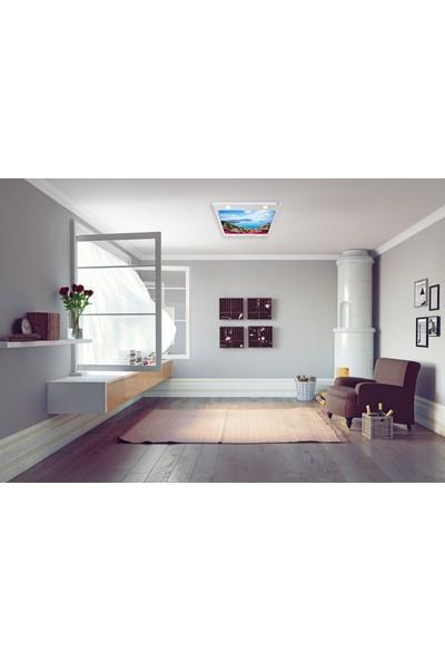 Hayal Penceresi Çiçekler ve Şehir Gergi Avize 109 x 80 cm Hazır Gergi Tavan