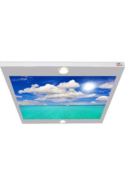 Hayal Penceresi Kayık ve Bulutlu Gökyüzü Gergi Avize 80 x 68 cm Hazır Gergi Tavan