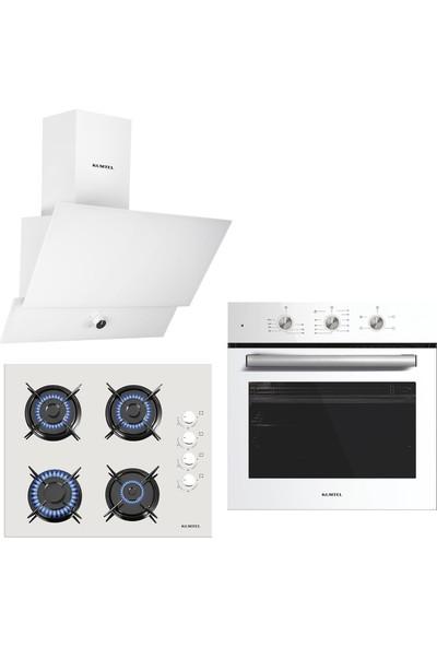 Kumtel Kristal Beyaz Cam Ankastre Set (DA6-830 Beyaz Davlumbaz + KO-40TAHDF Ankastre Beyaz Ocak + B66 - SF2 (MT) 4 Pro 3 Düğme(Plus) Cam Tel Raf Beyaz)