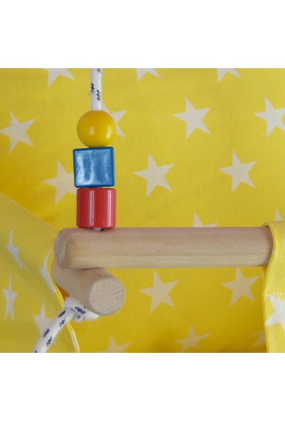 Berra Hayat Yıldız Desenli Doğal Ahşap Çocuk Hamak - Ev Tipi Salıncak - Sarı