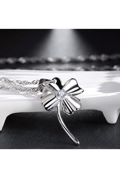 Enes Store Gümüş Dört Yapraklı Yonca Gümüş Kolye