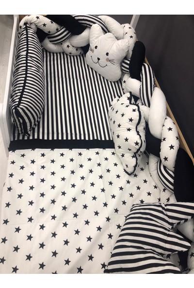 Mini Baby 4'lü Örgülü Siyahbeyaz Montessori Bebek-Çocuk Uyku Seti