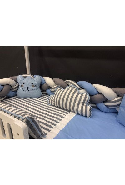 Mini Baby 4'lü Örgülü Mavi Montessori Bebek-Çocuk Uyku Seti