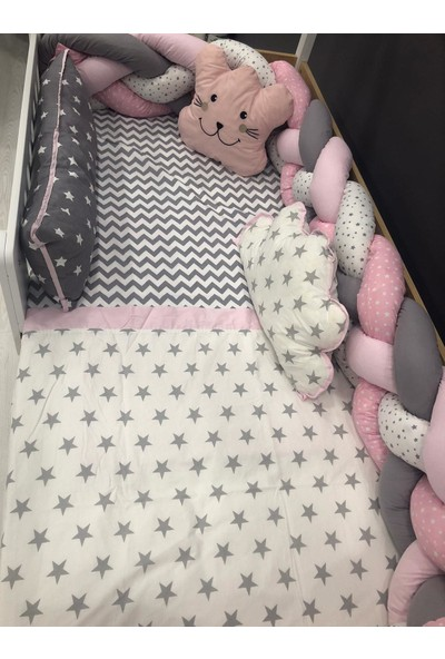 Mini Baby 4'lü Örgülü Pembe Montessori Bebek-Çocuk Uyku Seti