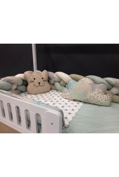 Mini Baby 4'lü Örgülü Yeşil Montessori Bebek-Çocuk Uyku Seti