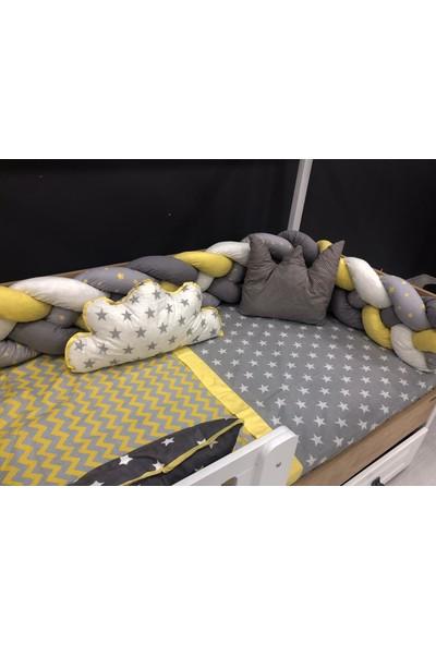 Mini Baby 4'lü Örgülü Sarı Montessori Bebek-Çocuk Uyku Seti