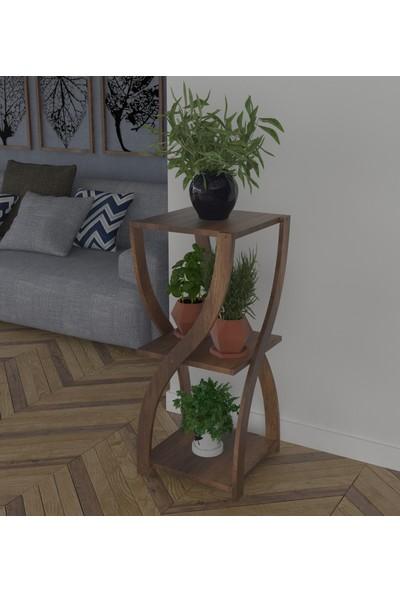PlatinReyon Kum Saati Modeli Saksılık Çiçeklik Saksı Standı Barog Ceviz