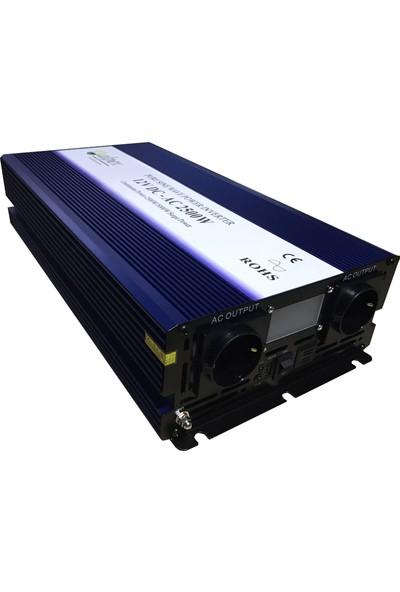Alpex Dijital Ekranlı Tam Sinüs Inverter 2500 W 12 V