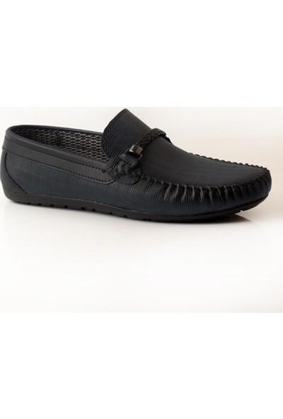 Pabucmarketi Comfort Lacivert Çizgili Erkek Yazlık Ayakkabı